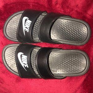 Black nike two strap slides!